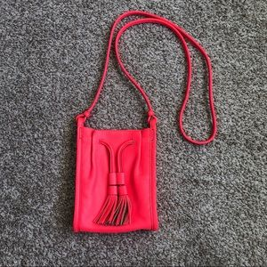 Fossil Neon Pink Leather Crossbody Bag